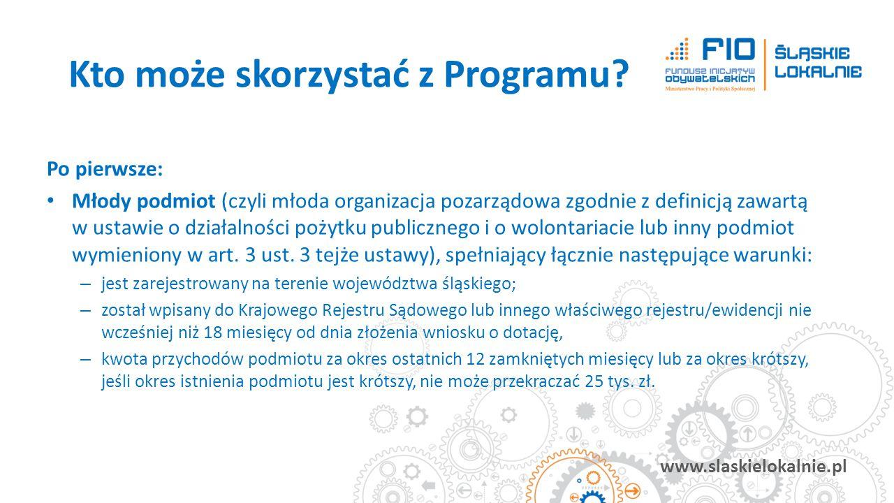 www.slaskielokalnie.pl Po pierwsze: Młody podmiot (czyli młoda organizacja pozarządowa zgodnie z definicją zawartą w ustawie o działalności pożytku pu