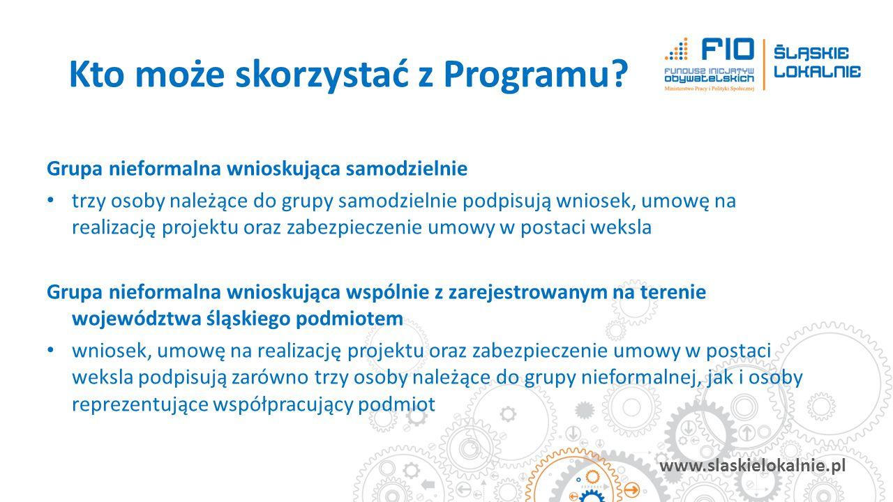 www.slaskielokalnie.pl Grupa nieformalna wnioskująca samodzielnie trzy osoby należące do grupy samodzielnie podpisują wniosek, umowę na realizację pro
