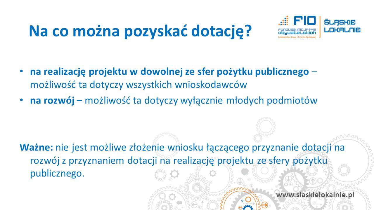 www.slaskielokalnie.pl na realizację projektu w dowolnej ze sfer pożytku publicznego – możliwość ta dotyczy wszystkich wnioskodawców na rozwój – możli