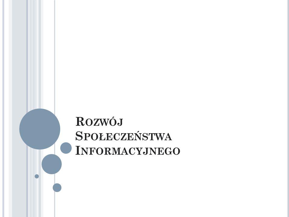 """S POŁECZEŃSTWO INFORMACYJNE """"Społeczeństwo charakteryzujące się przygotowaniem i zdolnością do użytkowania systemów informatycznych, skomputeryzowane i wykorzystujące usługi telekomunikacji do przesyłania i zdalnego przetwarzania informacji (I Kongres Informatyki Polskiej, 1994)."""