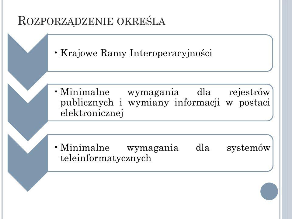 R OZPORZĄDZENIE OKREŚLA Krajowe Ramy Interoperacyjności Minimalne wymagania dla rejestrów publicznych i wymiany informacji w postaci elektronicznej Minimalne wymagania dla systemów teleinformatycznych