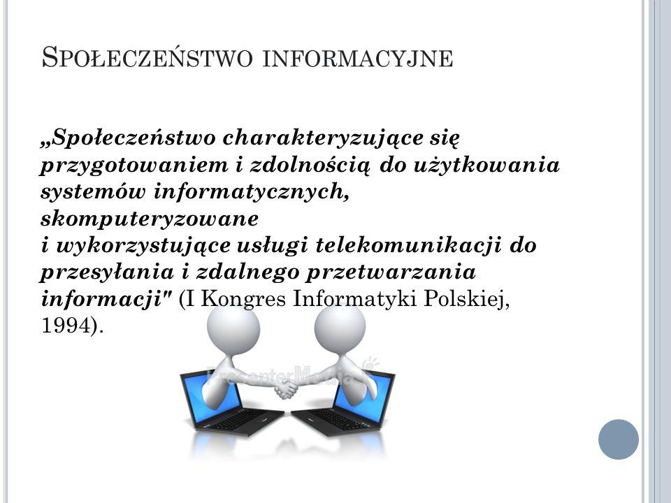 G ŁÓWNE SIŁY KSZTAŁTUJĄCE SPOŁECZEŃSTWO INFORMACYJNE Społeczeństwo informacyjne Postęp techniczny i technologiczny branży IT Grupy interesantów: - producenci IT i operatorzy IT - społeczności wirtualne - społeczności realne Przemiany struktur gospodarczych i biznesowych Polityka państw i struktur ponadnarodowych