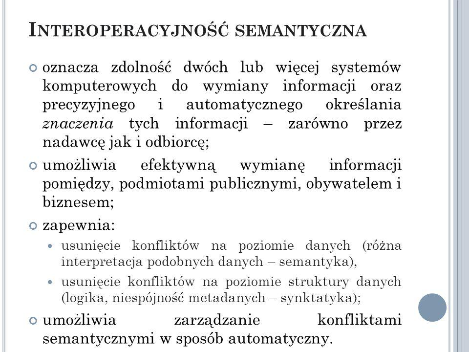 I NTEROPERACYJNOŚĆ SEMANTYCZNA oznacza zdolność dwóch lub więcej systemów komputerowych do wymiany informacji oraz precyzyjnego i automatycznego określania znaczenia tych informacji – zarówno przez nadawcę jak i odbiorcę; umożliwia efektywną wymianę informacji pomiędzy, podmiotami publicznymi, obywatelem i biznesem; zapewnia: usunięcie konfliktów na poziomie danych (różna interpretacja podobnych danych – semantyka), usunięcie konfliktów na poziomie struktury danych (logika, niespójność metadanych – synktatyka); umożliwia zarządzanie konfliktami semantycznymi w sposób automatyczny.