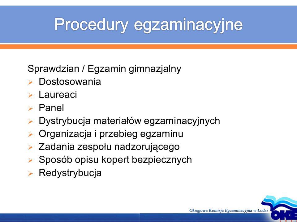 Sprawdzian / Egzamin gimnazjalny  Dostosowania  Laureaci  Panel  Dystrybucja materiałów egzaminacyjnych  Organizacja i przebieg egzaminu  Zadani