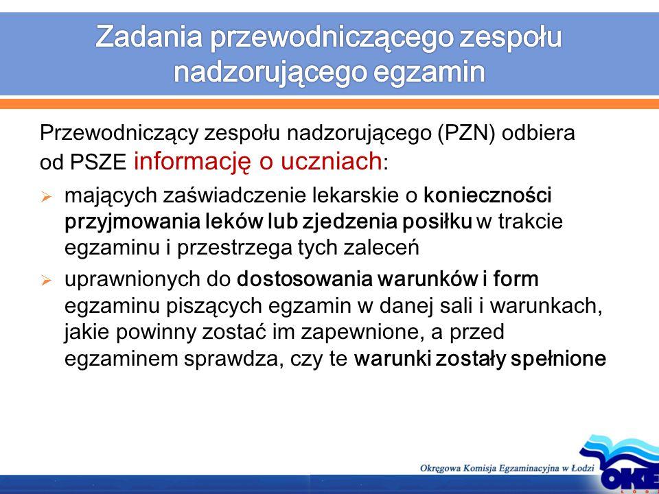 Przewodniczący zespołu nadzorującego (PZN) odbiera od PSZE informację o uczniach :  mających zaświadczenie lekarskie o konieczności przyjmowania lekó