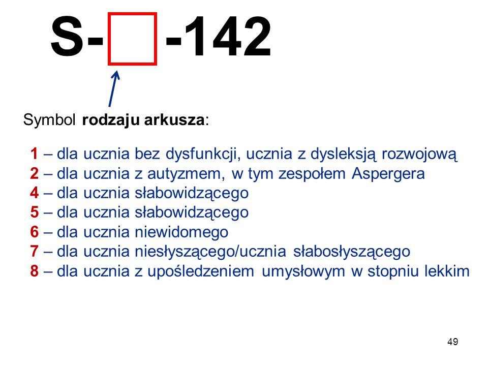 49 S- -142 Symbol rodzaju arkusza: 1 – dla ucznia bez dysfunkcji, ucznia z dysleksją rozwojową 2 – dla ucznia z autyzmem, w tym zespołem Aspergera 4 –