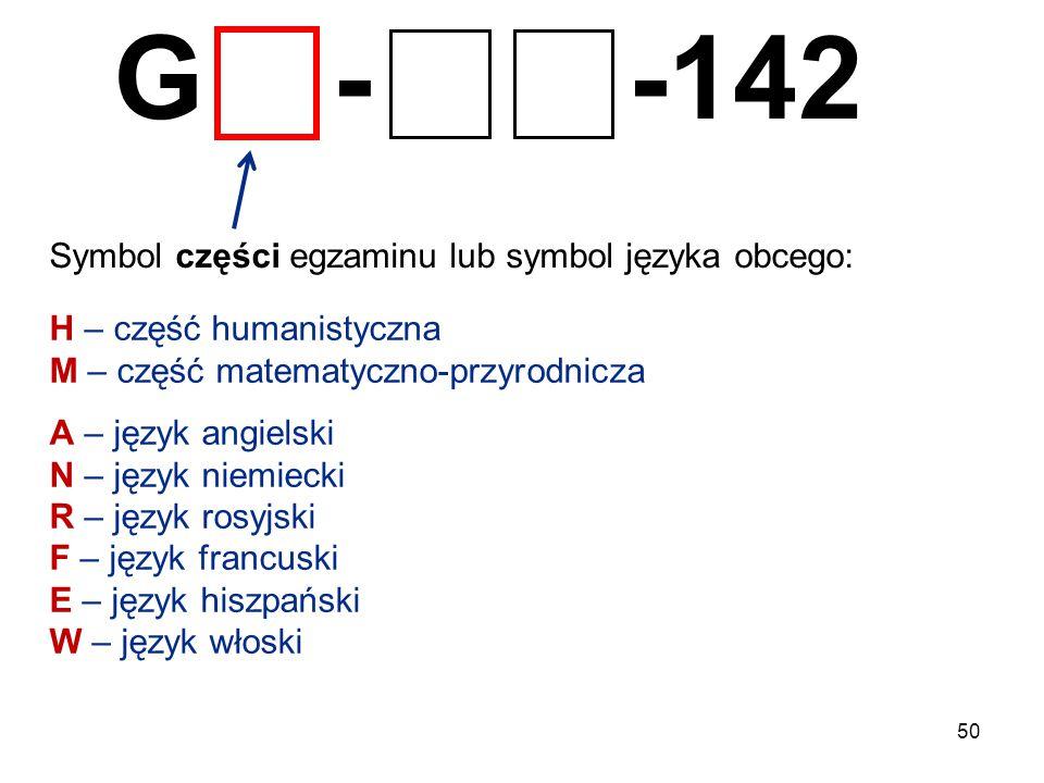 50 G - -142 Symbol części egzaminu lub symbol języka obcego: H – część humanistyczna M – część matematyczno-przyrodnicza A – język angielski N – język