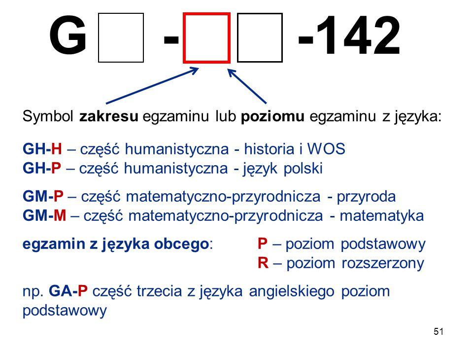 51 G - -142 Symbol zakresu egzaminu lub poziomu egzaminu z języka: GH-H – część humanistyczna - historia i WOS GH-P – część humanistyczna - język pols