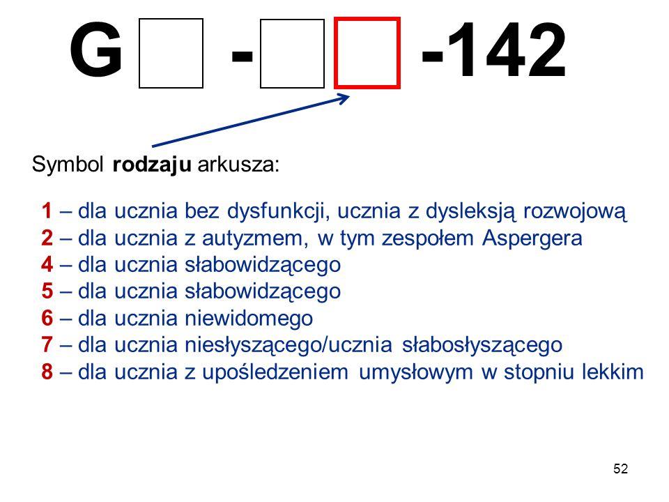 52 G - -142 Symbol rodzaju arkusza: 1 – dla ucznia bez dysfunkcji, ucznia z dysleksją rozwojową 2 – dla ucznia z autyzmem, w tym zespołem Aspergera 4