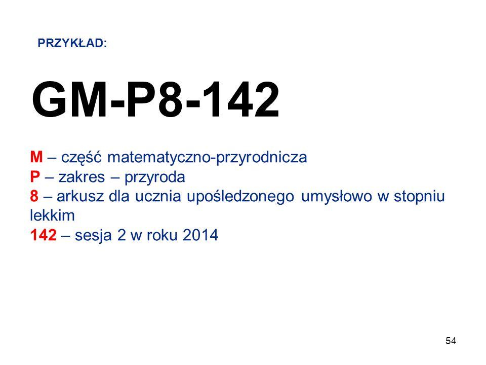 54 GM-P8-142 M – część matematyczno-przyrodnicza P – zakres – przyroda 8 – arkusz dla ucznia upośledzonego umysłowo w stopniu lekkim 142 – sesja 2 w r