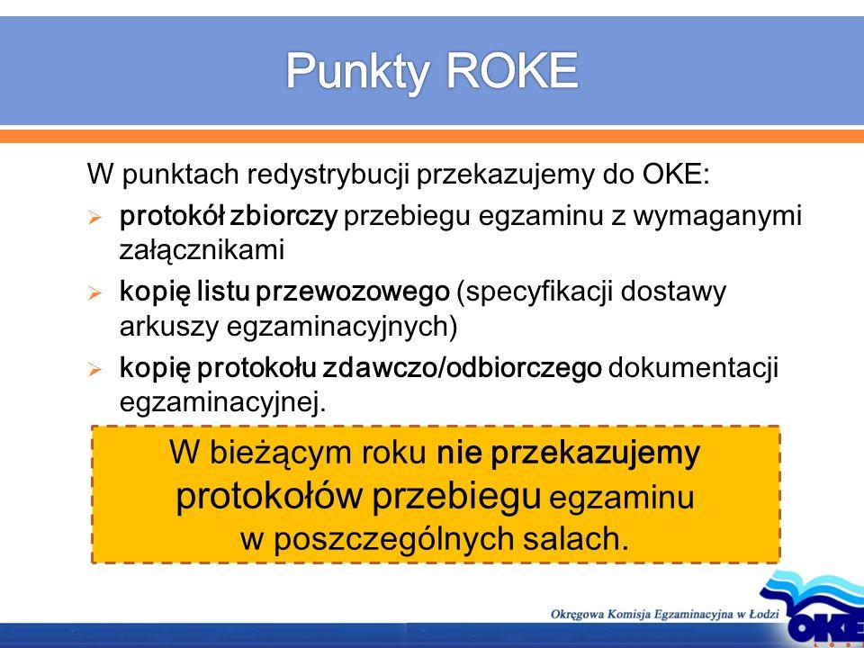 W punktach redystrybucji przekazujemy do OKE:  protokół zbiorczy przebiegu egzaminu z wymaganymi załącznikami  kopię listu przewozowego (specyfikacj