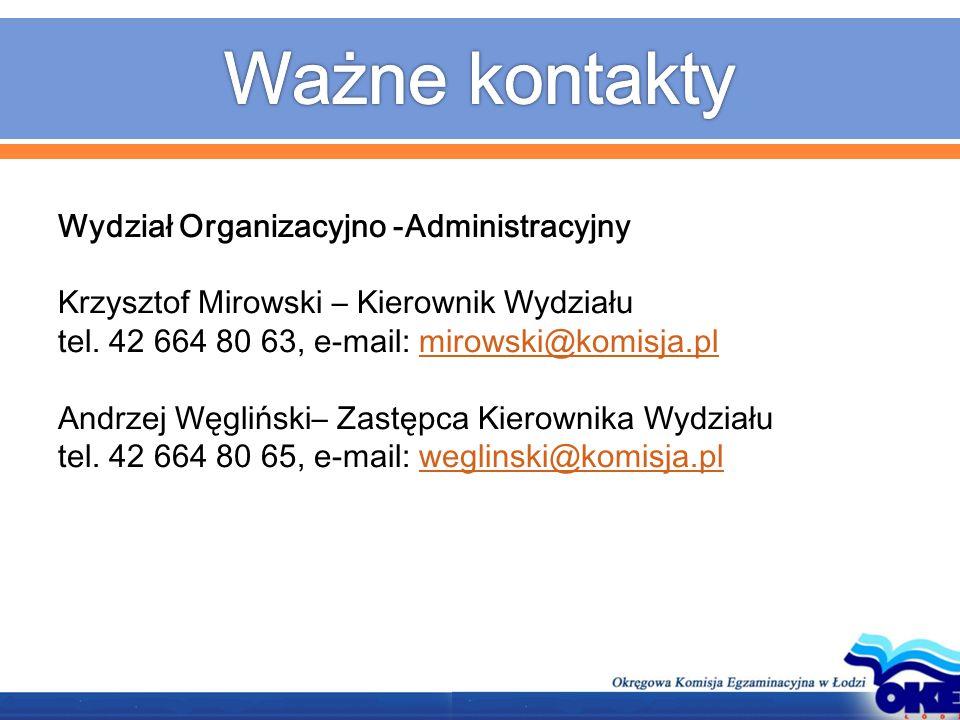 Wydział Organizacyjno -Administracyjny Krzysztof Mirowski – Kierownik Wydziału tel. 42 664 80 63, e-mail: mirowski@komisja.plmirowski@komisja.pl Andrz