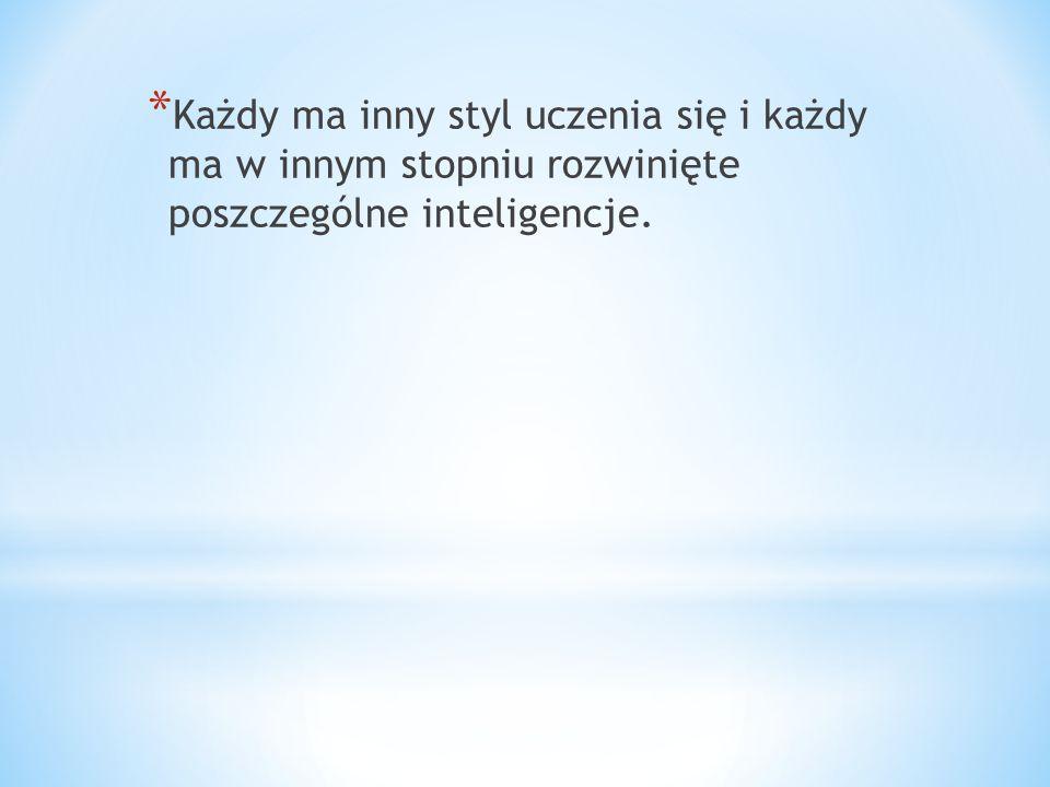 * Każdy ma inny styl uczenia się i każdy ma w innym stopniu rozwinięte poszczególne inteligencje.