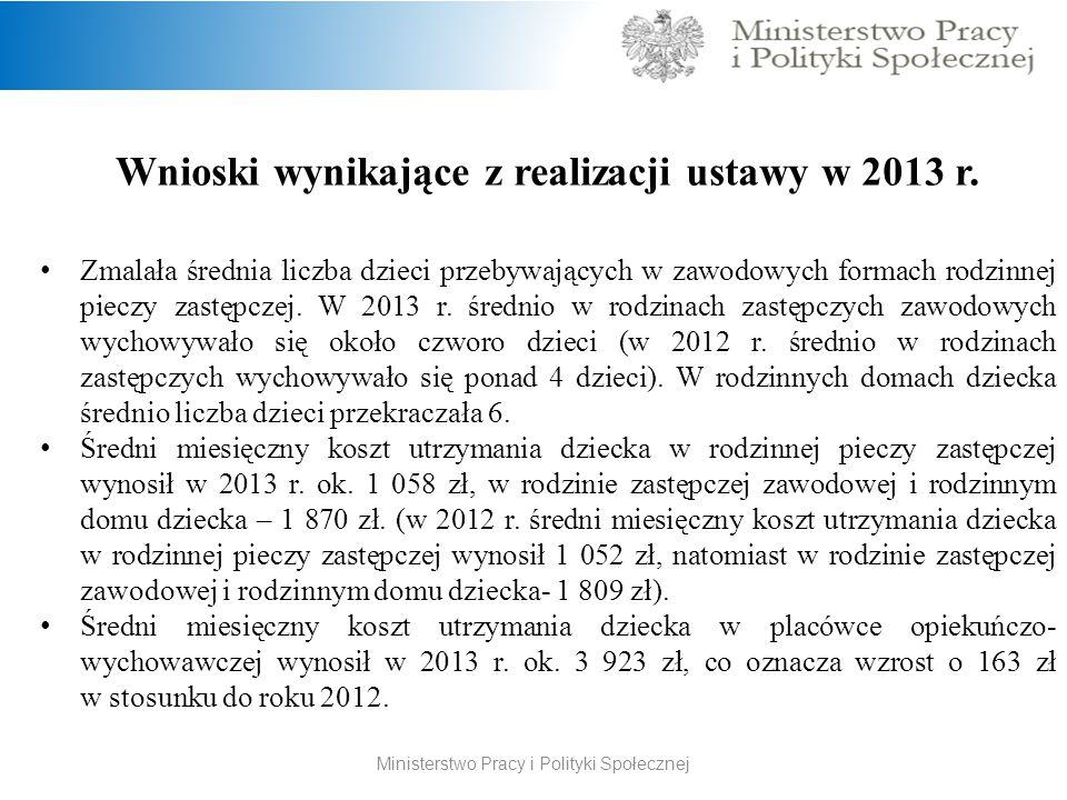 Wnioski wynikające z realizacji ustawy w 2013 r.