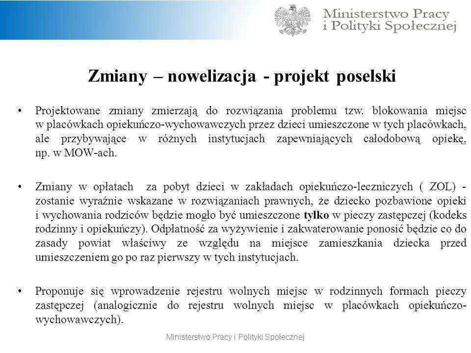 Zmiany – nowelizacja - projekt poselski Projektowane zmiany zmierzają do rozwiązania problemu tzw.