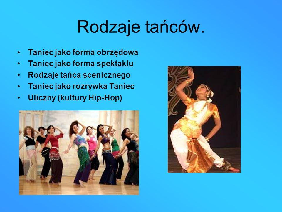 Rodzaje tańców. Taniec jako forma obrzędowa Taniec jako forma spektaklu Rodzaje tańca scenicznego Taniec jako rozrywka Taniec Uliczny (kultury Hip-Hop