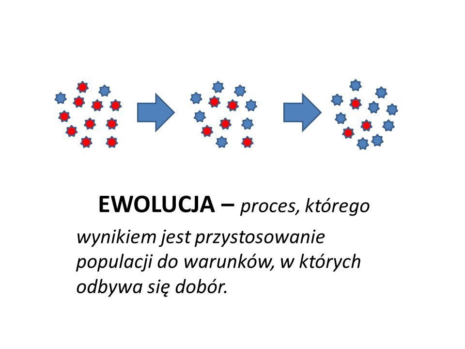 EWOLUCJA – proces, którego wynikiem jest przystosowanie populacji do warunków, w których odbywa się dobór.