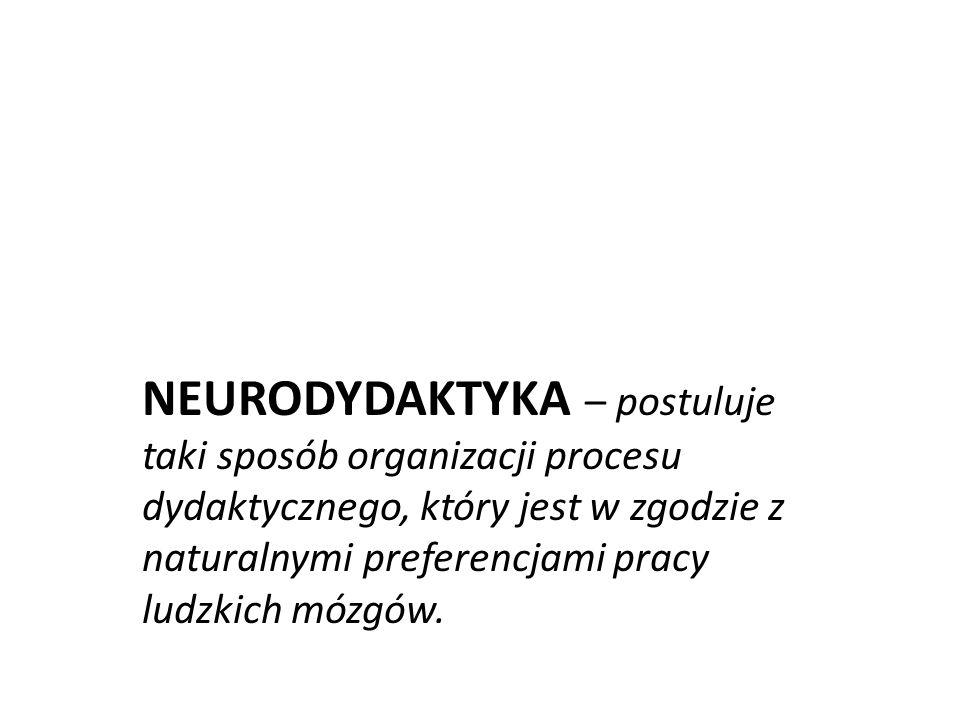NEURODYDAKTYKA – postuluje taki sposób organizacji procesu dydaktycznego, który jest w zgodzie z naturalnymi preferencjami pracy ludzkich mózgów.