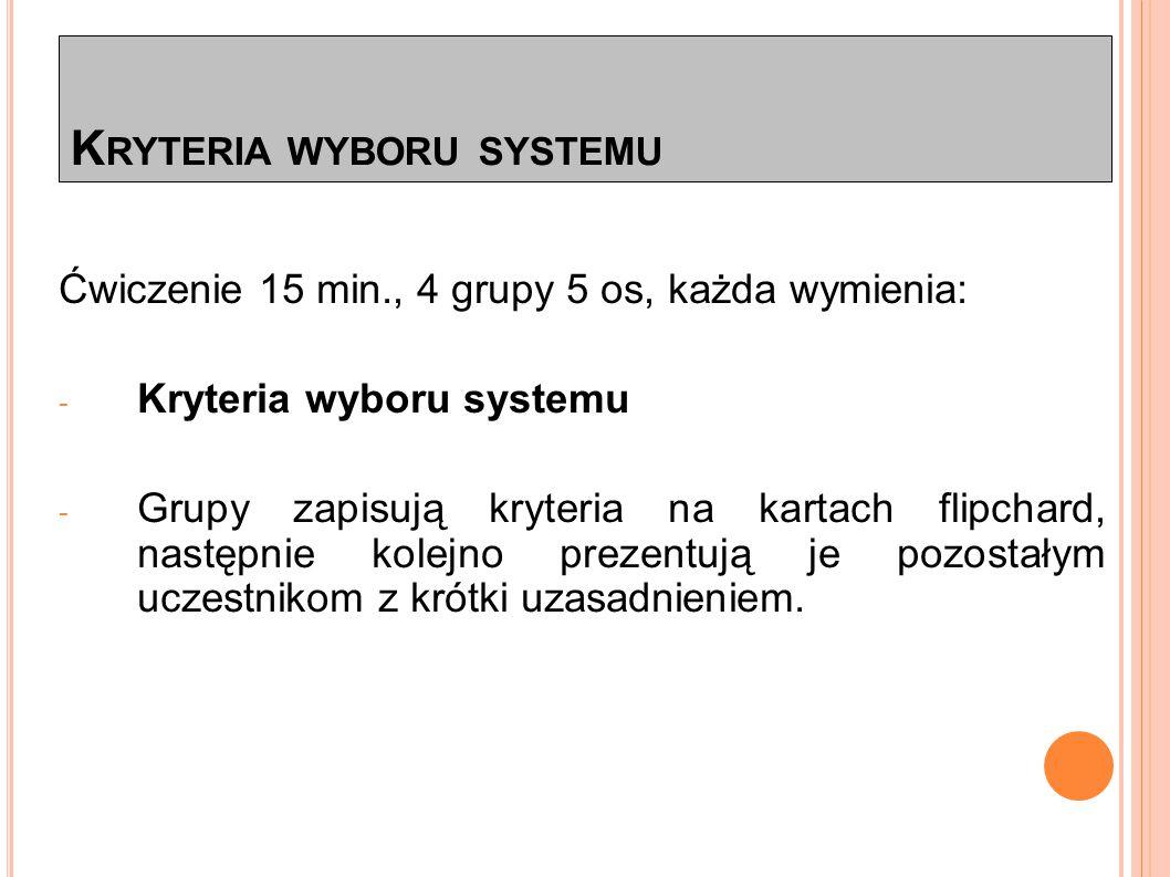 K RYTERIA WYBORU SYSTEMU * 1.Koszty 2. Pozycja producenta na rynku (m.in.