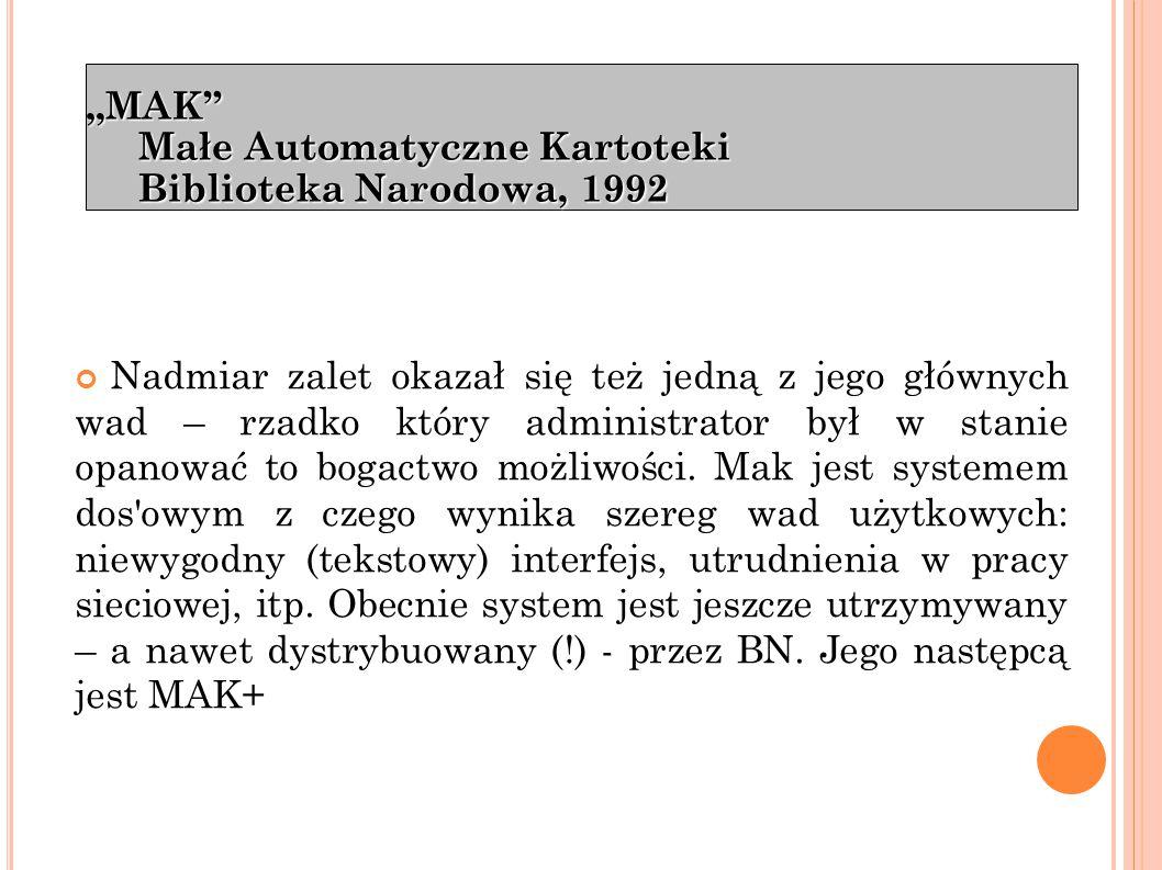 """""""ALEPH Zintegrowany system biblioteczny Ex Libris, 1992"""