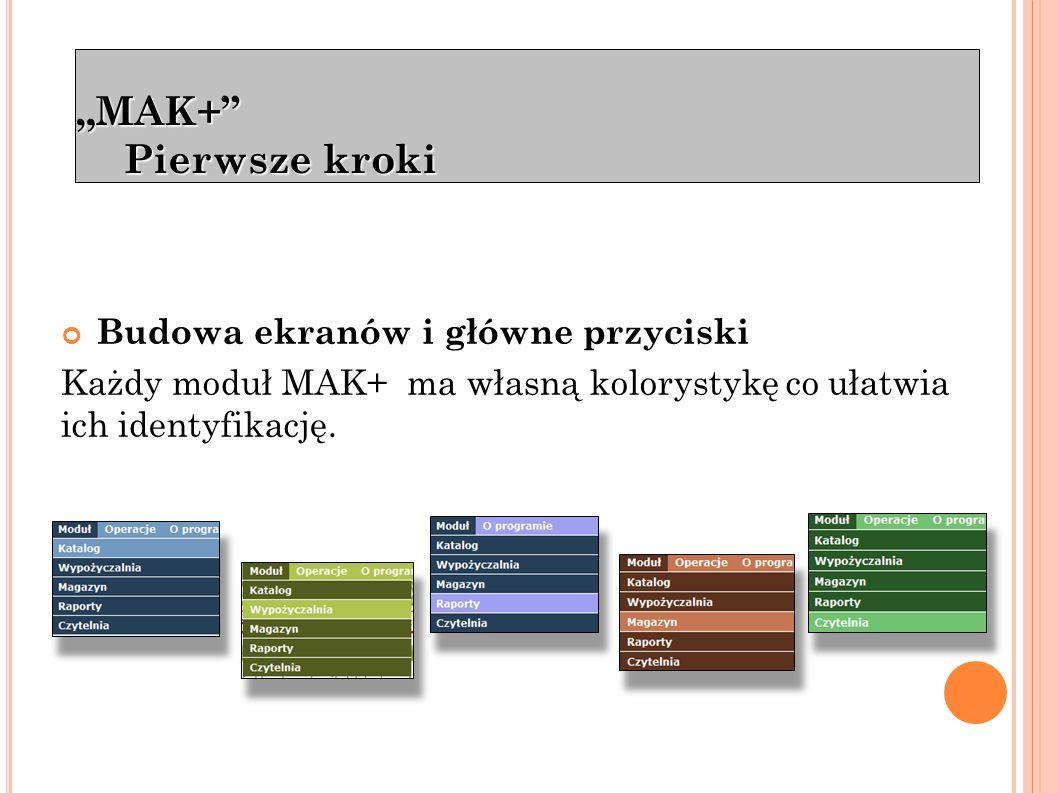 """""""MAK+ Pierwsze kroki menu główne wyszukiwanie lokalne wylogowanie Pasek sekcji Główne przyciski dostępne w każdym module"""