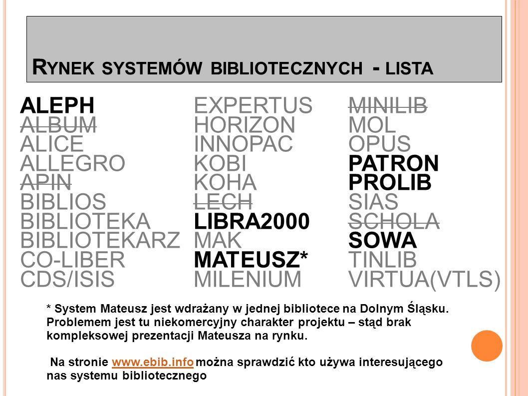 """R YNEK SYSTEMÓW BIBLIOTECZNYCH - TENDENCJE Od kilku lat można zauważyć w Polsce coraz intensywniejszy rozwój różnego typu konsorcjów bibliotecznych i bibliograficznych związany z implementacją nowoczesnych systemów bibliotecznych zdolnych je obsługiwać: DZB w systemie Aleph, Fidkar M@łopolski, """"System Bibliografii Regionalnej Województwa Łódzkiego w systemie Sowa itp."""