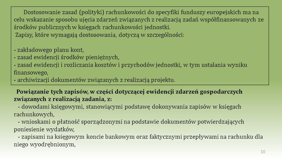 10 Dostosowanie zasad (polityki) rachunkowości do specyfiki funduszy europejskich ma na celu wskazanie sposobu ujęcia zdarzeń związanych z realizacją