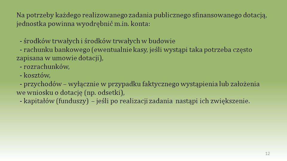 12 Na potrzeby każdego realizowanego zadania publicznego sfinansowanego dotacją, jednostka powinna wyodrębnić m.in. konta: - środków trwałych i środkó