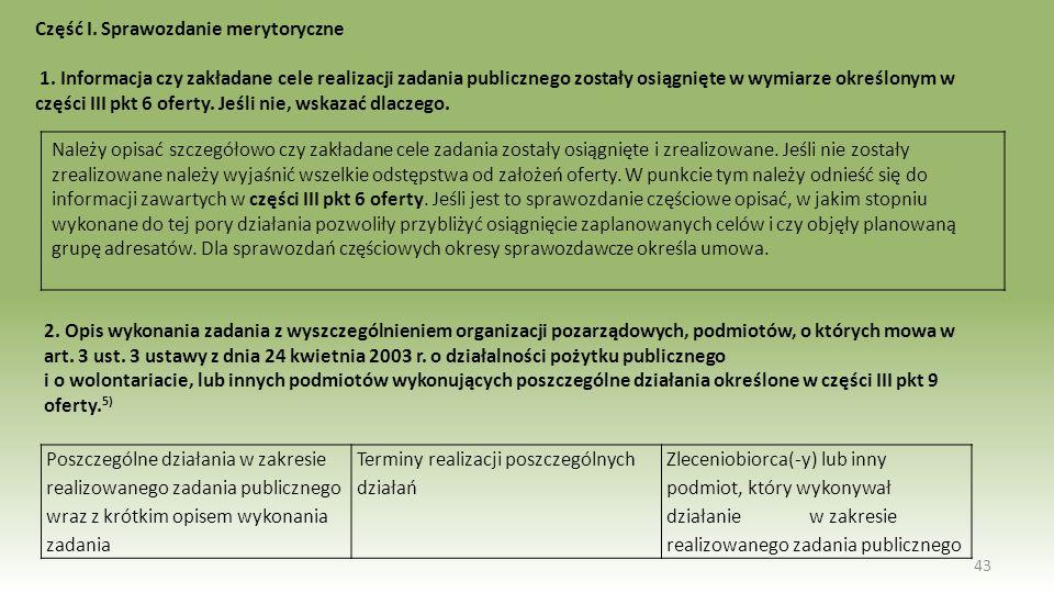 Część I. Sprawozdanie merytoryczne 1. Informacja czy zakładane cele realizacji zadania publicznego zostały osiągnięte w wymiarze określonym w części I