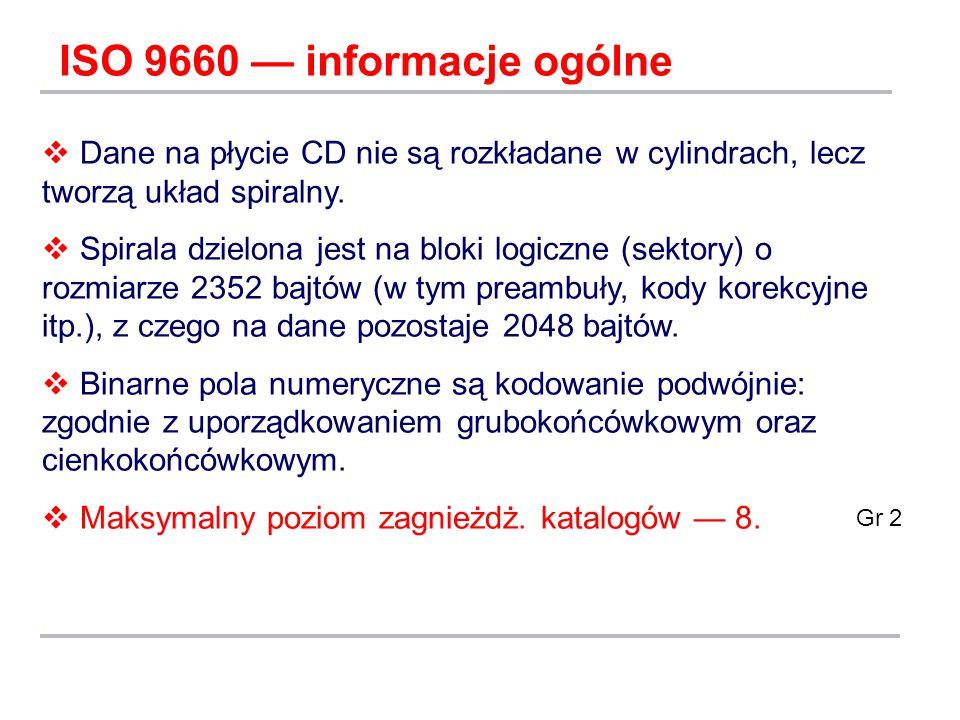 ISO 9660 — informacje ogólne  Dane na płycie CD nie są rozkładane w cylindrach, lecz tworzą układ spiralny.