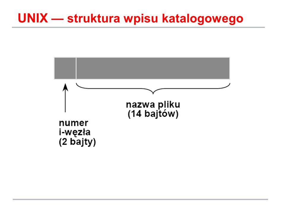 UNIX — struktura wpisu katalogowego