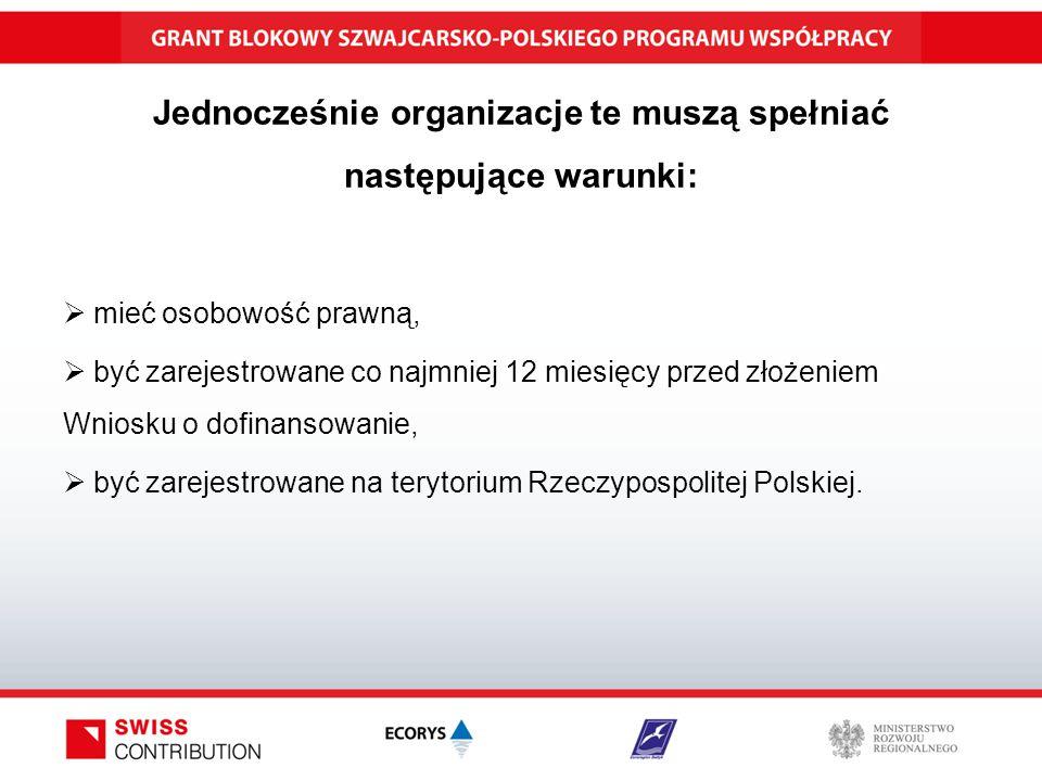 Jednocześnie organizacje te muszą spełniać następujące warunki:  mieć osobowość prawną,  być zarejestrowane co najmniej 12 miesięcy przed złożeniem Wniosku o dofinansowanie,  być zarejestrowane na terytorium Rzeczypospolitej Polskiej.