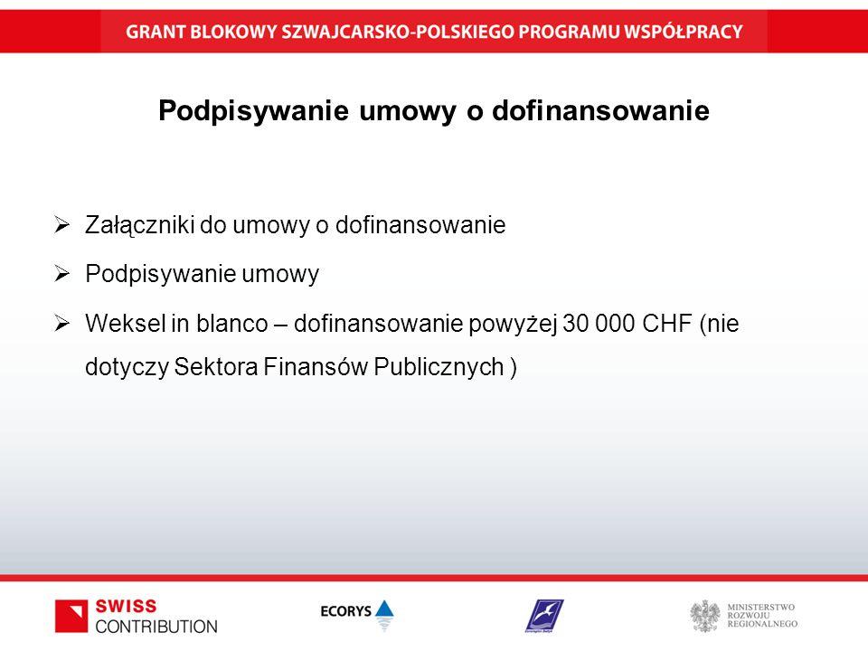 Podpisywanie umowy o dofinansowanie  Załączniki do umowy o dofinansowanie  Podpisywanie umowy  Weksel in blanco – dofinansowanie powyżej 30 000 CHF (nie dotyczy Sektora Finansów Publicznych )