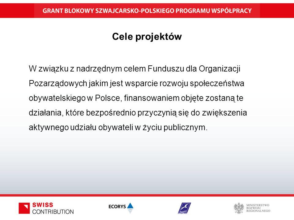 Cele projektów W związku z nadrzędnym celem Funduszu dla Organizacji Pozarządowych jakim jest wsparcie rozwoju społeczeństwa obywatelskiego w Polsce, finansowaniem objęte zostaną te działania, które bezpośrednio przyczynią się do zwiększenia aktywnego udziału obywateli w życiu publicznym.