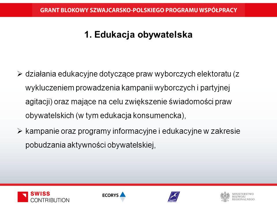 1. Edukacja obywatelska  działania edukacyjne dotyczące praw wyborczych elektoratu (z wykluczeniem prowadzenia kampanii wyborczych i partyjnej agitac