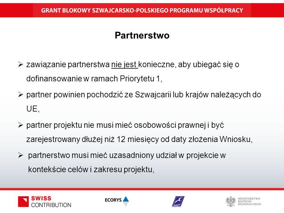 Partnerstwo  zawiązanie partnerstwa nie jest konieczne, aby ubiegać się o dofinansowanie w ramach Priorytetu 1,  partner powinien pochodzić ze Szwajcarii lub krajów należących do UE,  partner projektu nie musi mieć osobowości prawnej i być zarejestrowany dłużej niż 12 miesięcy od daty złożenia Wniosku,  partnerstwo musi mieć uzasadniony udział w projekcie w kontekście celów i zakresu projektu,