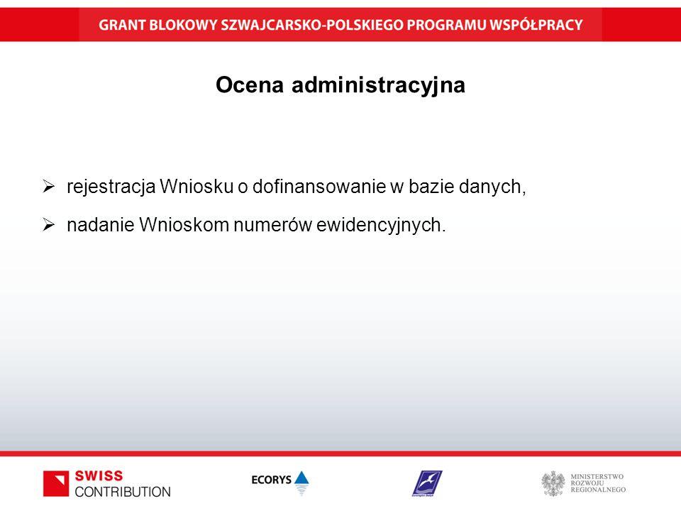 Ocena administracyjna  rejestracja Wniosku o dofinansowanie w bazie danych,  nadanie Wnioskom numerów ewidencyjnych.