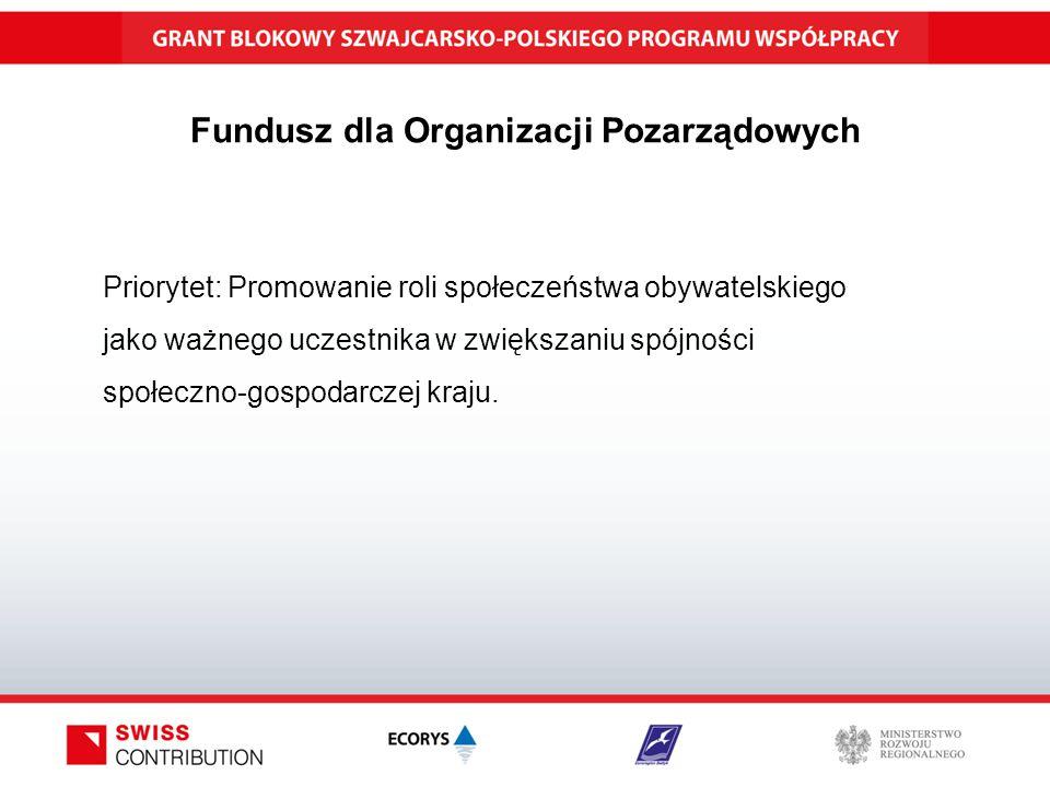 Fundusz dla Organizacji Pozarządowych Priorytet: Promowanie roli społeczeństwa obywatelskiego jako ważnego uczestnika w zwiększaniu spójności społeczno-gospodarczej kraju.