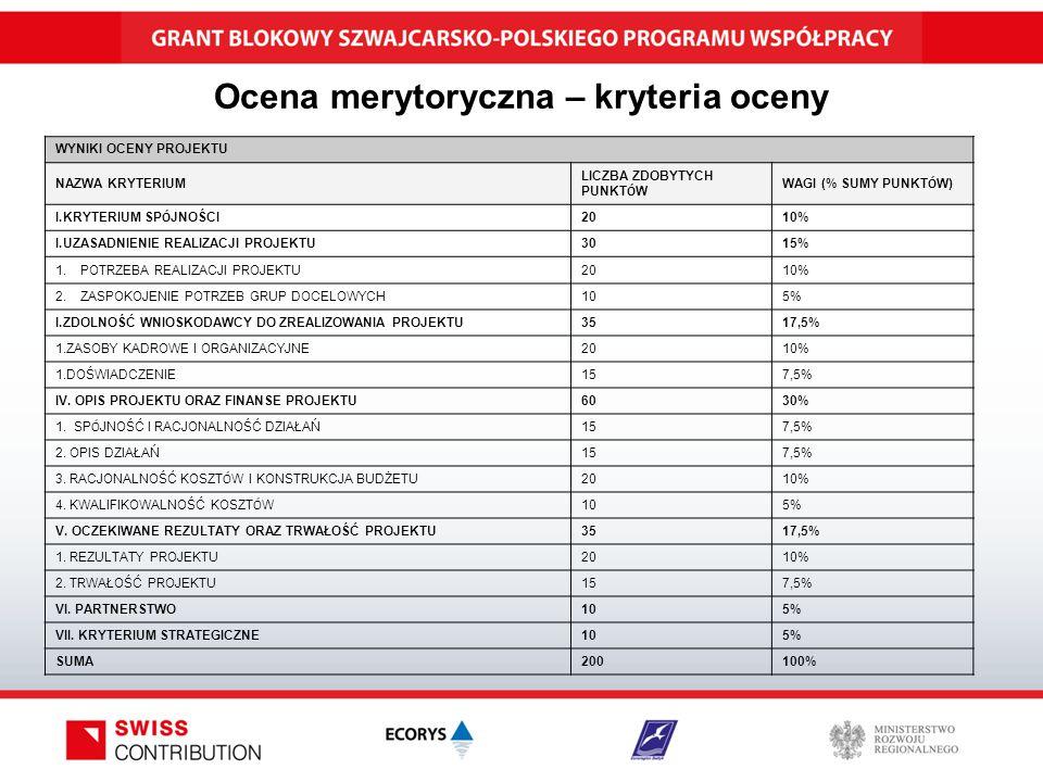 Ocena merytoryczna – kryteria oceny WYNIKI OCENY PROJEKTU NAZWA KRYTERIUM LICZBA ZDOBYTYCH PUNKT Ó W WAGI (% SUMY PUNKT Ó W) I.KRYTERIUM SP Ó JNOŚCI 2010% I.UZASADNIENIE REALIZACJI PROJEKTU3015% 1.