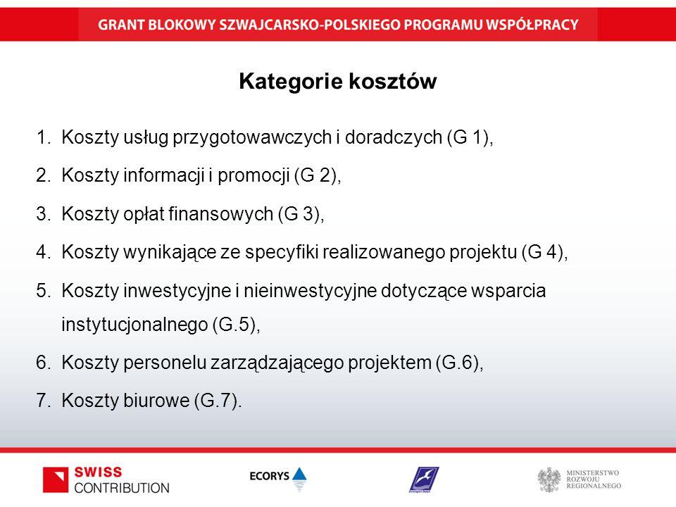 Kategorie kosztów 1.Koszty usług przygotowawczych i doradczych (G 1), 2.Koszty informacji i promocji (G 2), 3.Koszty opłat finansowych (G 3), 4.Koszty wynikające ze specyfiki realizowanego projektu (G 4), 5.Koszty inwestycyjne i nieinwestycyjne dotyczące wsparcia instytucjonalnego (G.5), 6.Koszty personelu zarządzającego projektem (G.6), 7.Koszty biurowe (G.7).