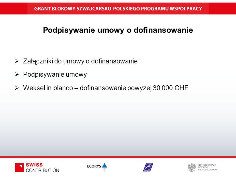 Podpisywanie umowy o dofinansowanie  Załączniki do umowy o dofinansowanie  Podpisywanie umowy  Weksel in blanco – dofinansowanie powyżej 30 000 CHF
