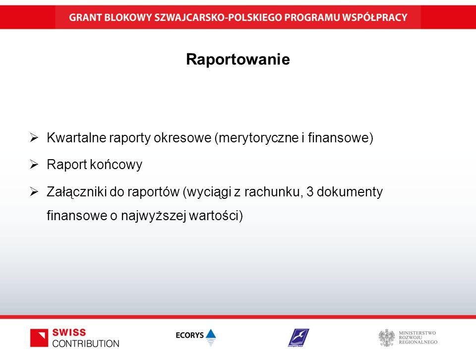 Raportowanie  Kwartalne raporty okresowe (merytoryczne i finansowe)  Raport końcowy  Załączniki do raportów (wyciągi z rachunku, 3 dokumenty finansowe o najwyższej wartości)