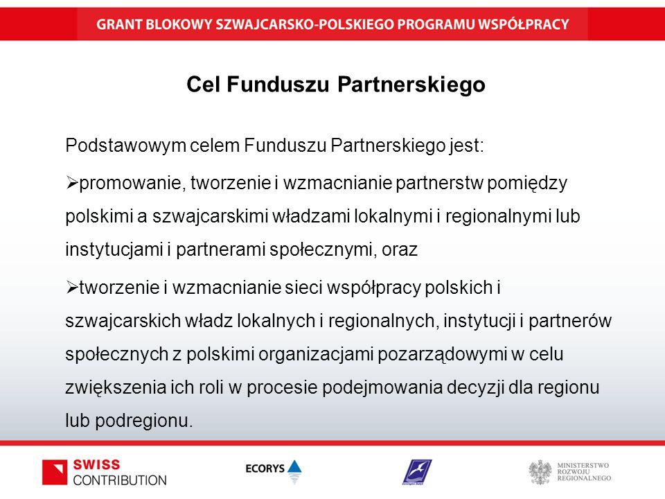 Cel Funduszu Partnerskiego Podstawowym celem Funduszu Partnerskiego jest:  promowanie, tworzenie i wzmacnianie partnerstw pomiędzy polskimi a szwajcarskimi władzami lokalnymi i regionalnymi lub instytucjami i partnerami społecznymi, oraz  tworzenie i wzmacnianie sieci współpracy polskich i szwajcarskich władz lokalnych i regionalnych, instytucji i partnerów społecznych z polskimi organizacjami pozarządowymi w celu zwiększenia ich roli w procesie podejmowania decyzji dla regionu lub podregionu.