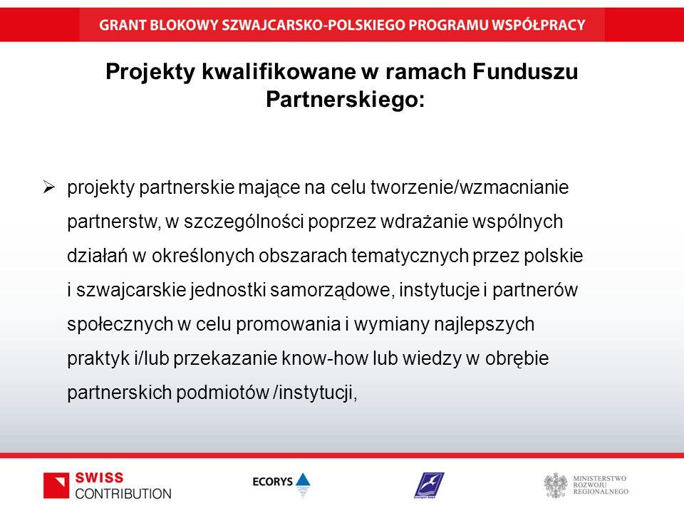 Projekty kwalifikowane w ramach Funduszu Partnerskiego:  projekty partnerskie mające na celu tworzenie/wzmacnianie partnerstw, w szczególności poprzez wdrażanie wspólnych działań w określonych obszarach tematycznych przez polskie i szwajcarskie jednostki samorządowe, instytucje i partnerów społecznych w celu promowania i wymiany najlepszych praktyk i/lub przekazanie know-how lub wiedzy w obrębie partnerskich podmiotów /instytucji,