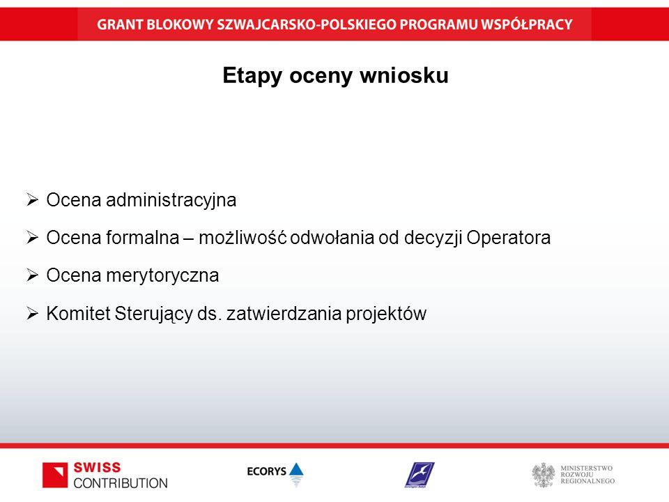 Etapy oceny wniosku  Ocena administracyjna  Ocena formalna – możliwość odwołania od decyzji Operatora  Ocena merytoryczna  Komitet Sterujący ds.
