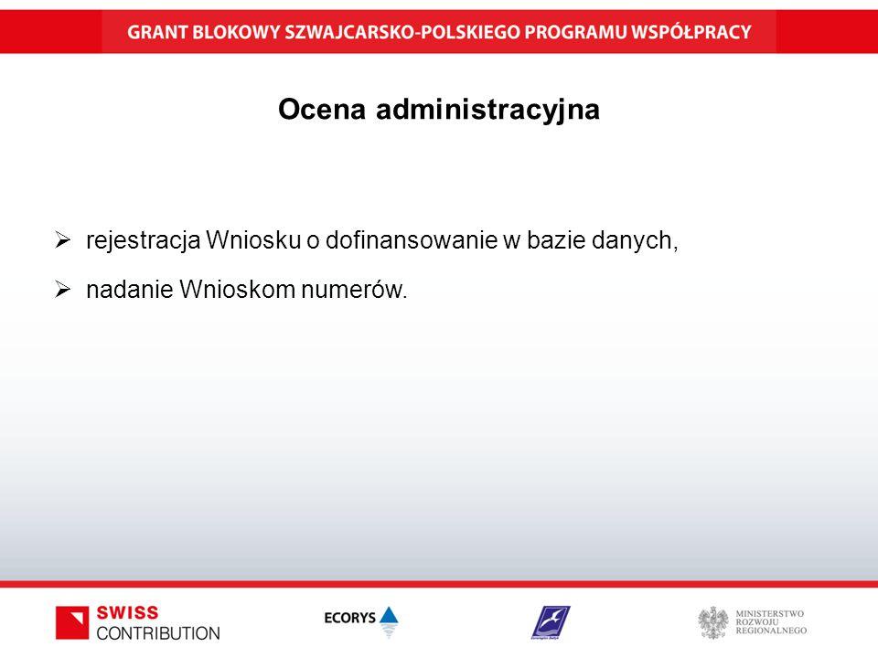 Ocena administracyjna  rejestracja Wniosku o dofinansowanie w bazie danych,  nadanie Wnioskom numerów.