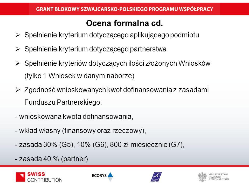 Ocena formalna cd.