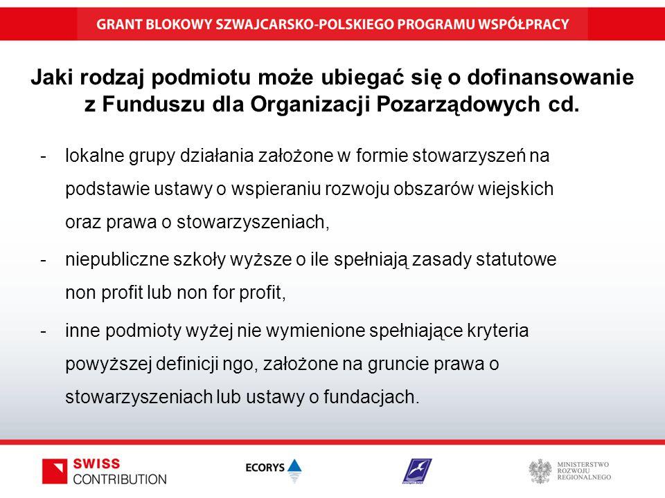 Jaki rodzaj podmiotu może ubiegać się o dofinansowanie z Funduszu dla Organizacji Pozarządowych cd.