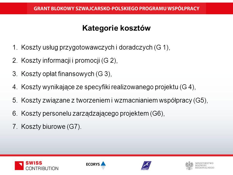 Kategorie kosztów 1.Koszty usług przygotowawczych i doradczych (G 1), 2.Koszty informacji i promocji (G 2), 3.Koszty opłat finansowych (G 3), 4.Koszty wynikające ze specyfiki realizowanego projektu (G 4), 5.Koszty związane z tworzeniem i wzmacnianiem współpracy (G5), 6.Koszty personelu zarządzającego projektem (G6), 7.Koszty biurowe (G7).
