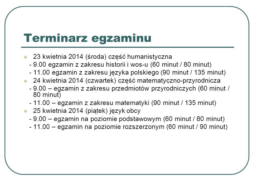 Terminarz egzaminu 23 kwietnia 2014 (środa) część humanistyczna - 9.00 egzamin z zakresu historii i wos-u (60 minut / 80 minut) - 11.00 egzamin z zakresu języka polskiego (90 minut / 135 minut) 24 kwietnia 2014 (czwartek) część matematyczno-przyrodnicza - 9.00 – egzamin z zakresu przedmiotów przyrodniczych (60 minut / 80 minut) - 11.00 – egzamin z zakresu matematyki (90 minut / 135 minut) 25 kwietnia 2014 (piątek) język obcy - 9.00 – egzamin na poziomie podstawowym (60 minut / 80 minut) - 11.00 – egzamin na poziomie rozszerzonym (60 minut / 90 minut)